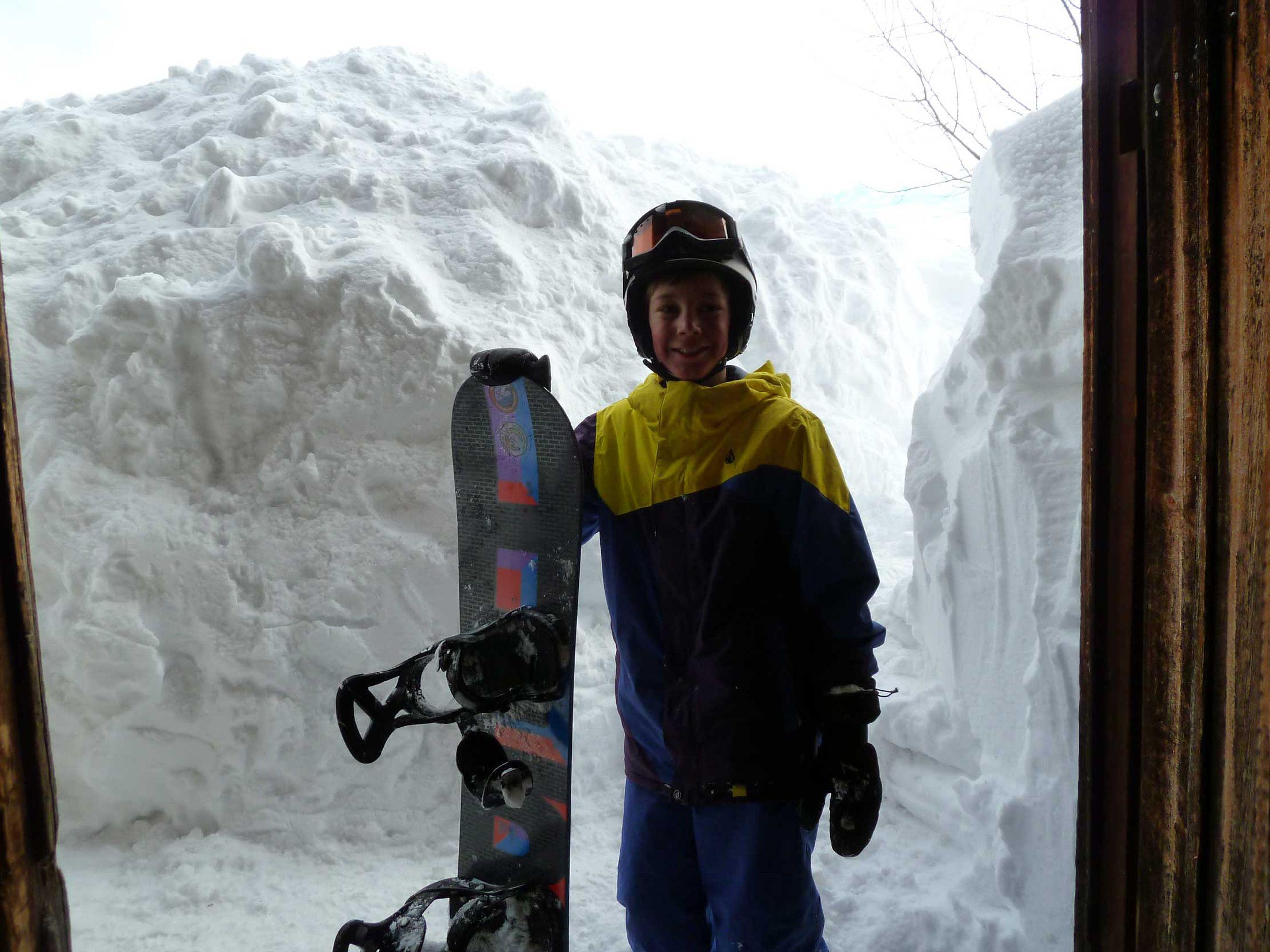 Snowboarden bis in die Hütte